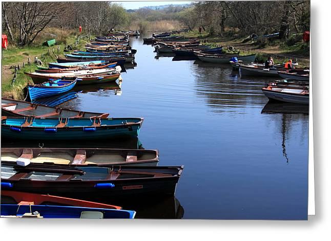 Fishing Boat Row Greeting Card by Aidan Moran