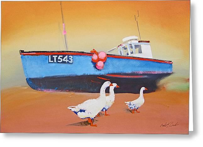 Fishing Boat Walberswick With Geese Greeting Card