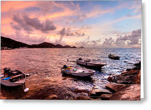 Fishing Boats At A Firey Sunset Greeting Card by Anya Brewley Schultheiss