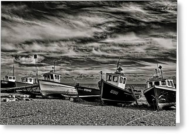Fishing Boats At Beer Greeting Card by Pete Hemington