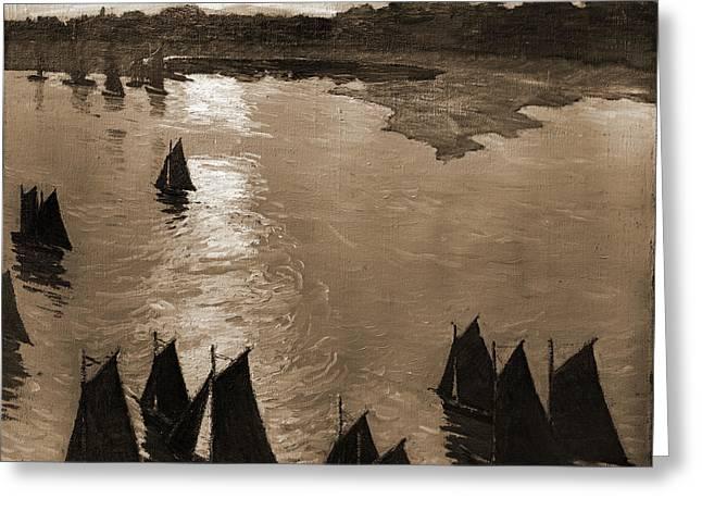 Fishing Boats At Sunrise, Lie, Jonas, 1880-1940 Greeting Card