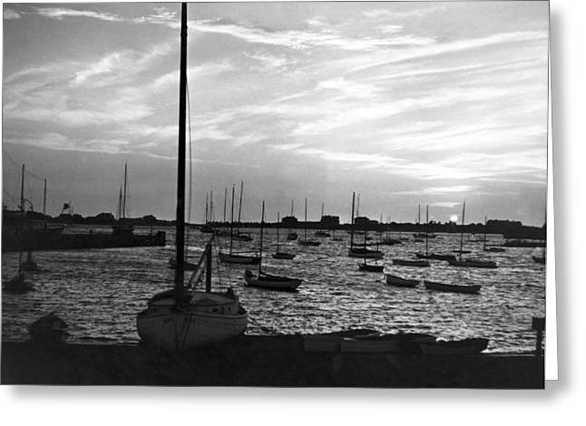 Fishing Boats At Sunset Greeting Card by Underwood Archives