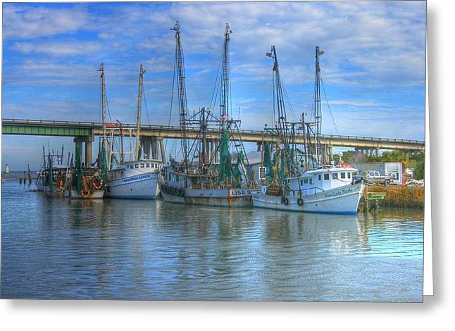 Fishing Boats At The Dock Greeting Card