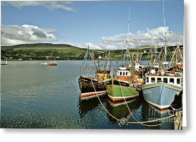 Fishing Boats At Uig Skye Scotland 1994 Greeting Card by David Davies