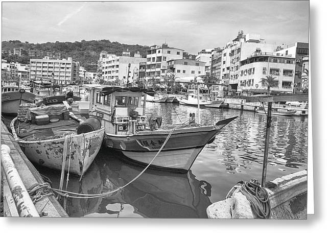 Fishing Boats B W Greeting Card