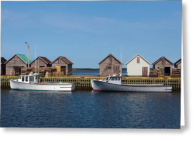 Fishing Boats Greeting Card by Geoffrey Whiteway