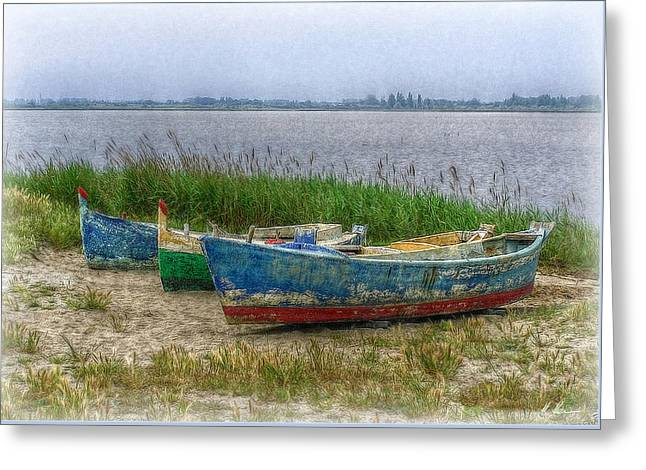 Greeting Card featuring the photograph Fishing Boats by Hanny Heim