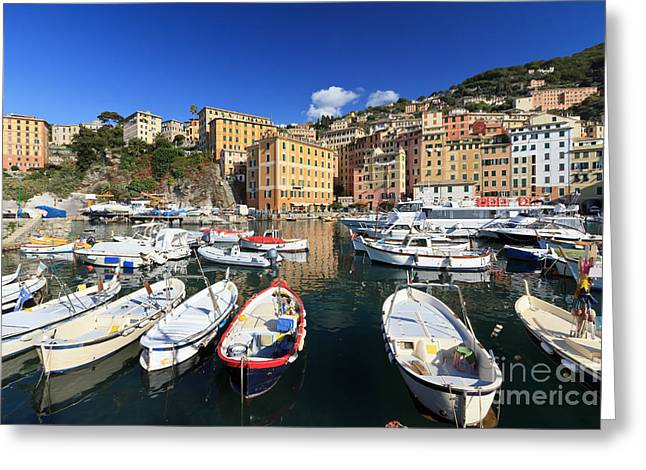 Greeting Card featuring the photograph fishing boats in Camogli by Antonio Scarpi