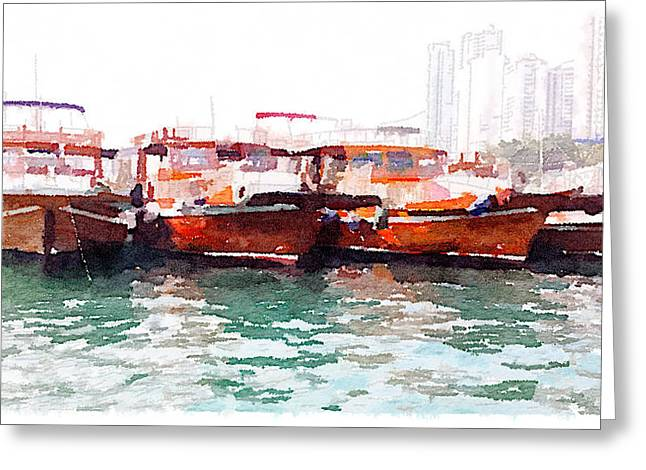 Fishing Boats In Hong Kong Greeting Card