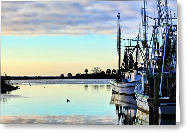 Fishing Boats In Pensacola Greeting Card by JC Findley