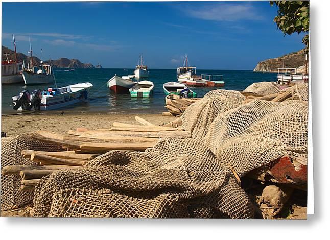 Fishing Boats In Taganga Greeting Card by Ildi Papp