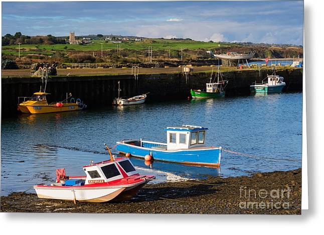 Fishing Boats In The Harbour At Hayle Greeting Card by Louise Heusinkveld