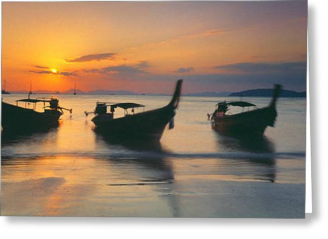Fishing Boats In The Sea, Railay Beach Greeting Card by Panoramic Images