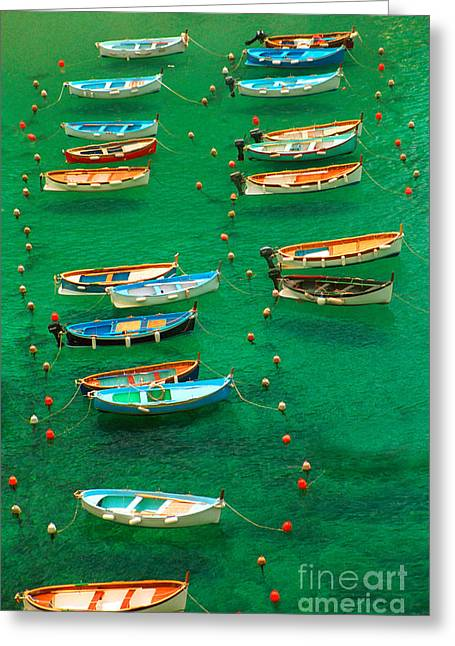 Fishing Boats In Vernazza Greeting Card