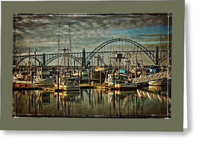Fishing Boats In Yaquina Bay Greeting Card by Thom Zehrfeld