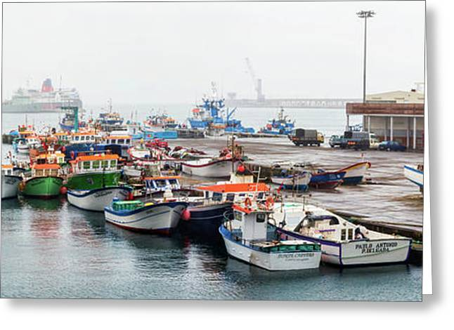 Fishing Boats Moored At A Harbor, Ponta Greeting Card