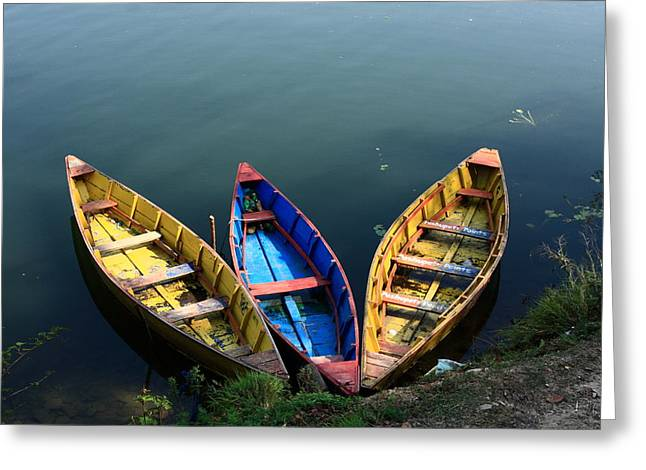 Fishing Boats - Nepal Greeting Card by Aidan Moran