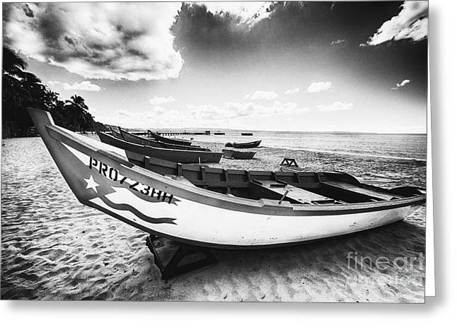 Fishing Boats On The Shore Greeting Card by George Oze
