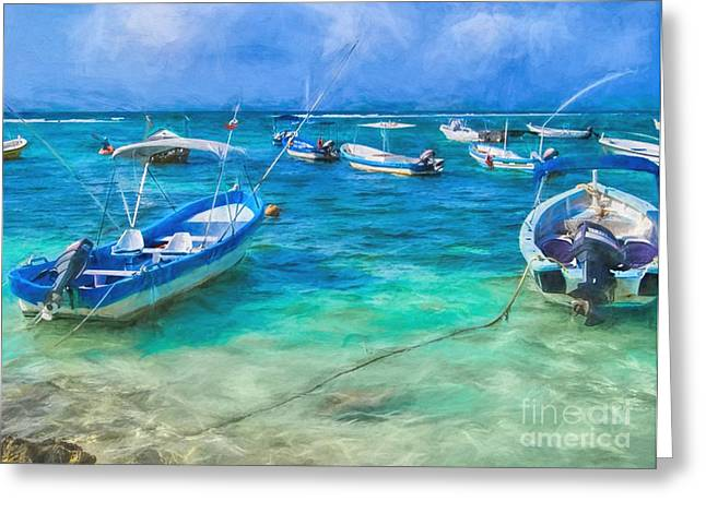 Fishing Boats Greeting Card by Peggy Hughes
