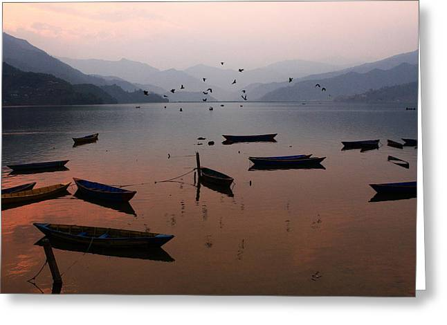Fishing Boats - Phewa Lake - Nepal Greeting Card by Aidan Moran