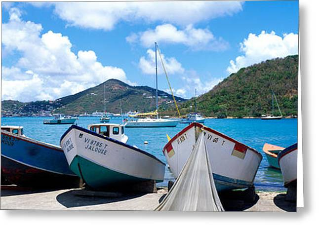 Fishing Boats St Thomas Us Virgin Greeting Card by Panoramic Images