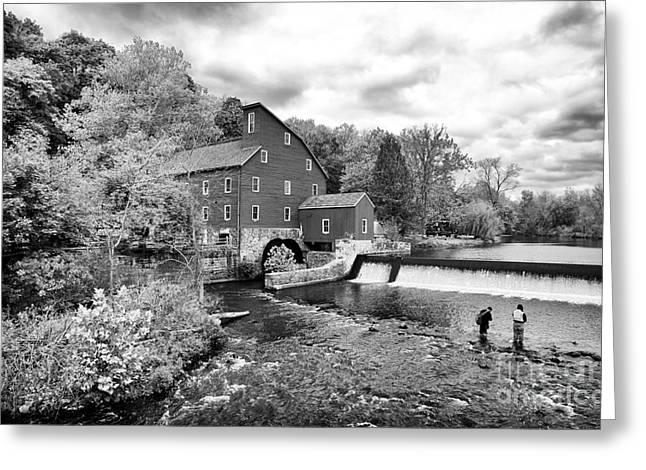 Fishing Buddy At The Old Red Mill Greeting Card by John Rizzuto