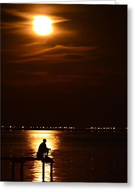 Fishing By Moonlight01 Greeting Card