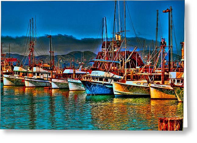 Fishing Fleet At Suns Setting Greeting Card