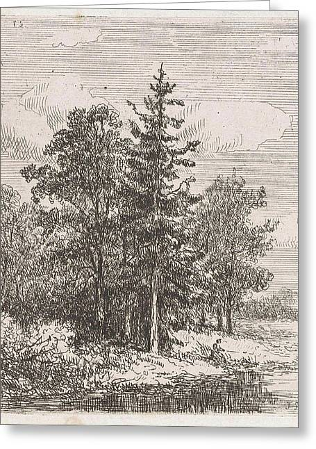 Fishing For A Group Of Trees, Johannes Pieter Van Wisselingh Greeting Card