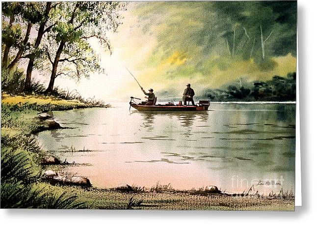 Fishing For Bass - Greenbrier River Greeting Card by Bill Holkham