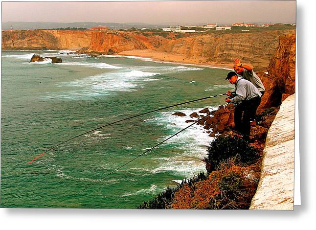 Fishing From High Cliffs In Sagres-portugal Greeting Card by Ruth Hager