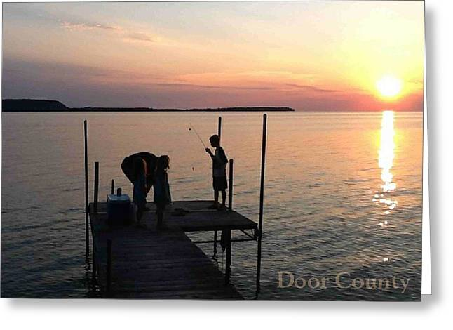Fishing From The Dock In The Sunset Greeting Card