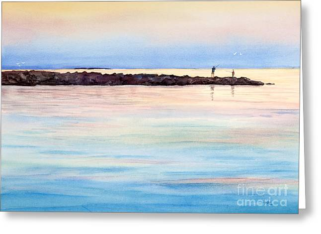 Fishing From The Jetty At Sunset Greeting Card
