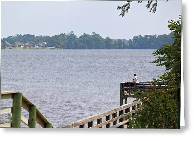 Fishing From The Pier Greeting Card by Carolyn Ricks