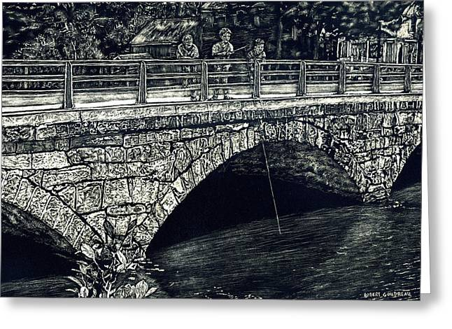 Fishing From The Stone Arched Bridge Greeting Card by Robert Goudreau