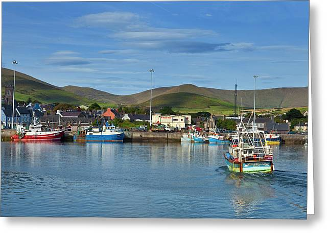 Fishing Harbour In Dingle Town, Dingle Greeting Card by Panoramic Images