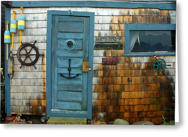 Fishing Hut At Rockport Maritime Greeting Card by Jon Holiday