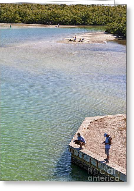 Fishing In Estero Bay Near Fort Myers Beach Florida Greeting Card by William Kuta