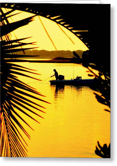 Fishing In Gold Greeting Card by Karen Wiles