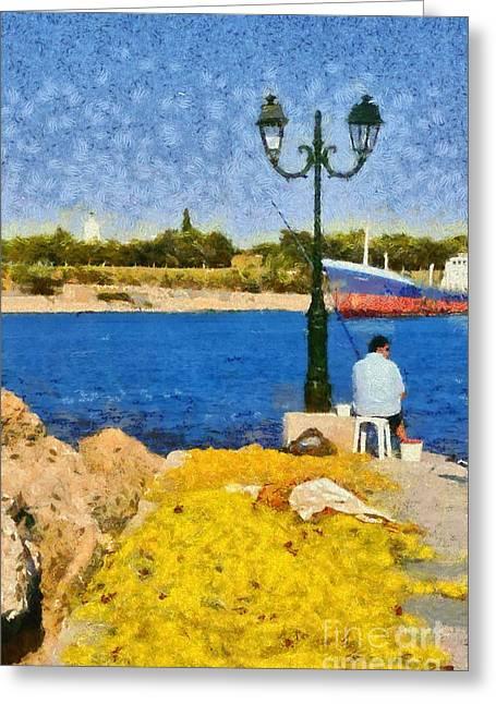 Fishing In Spetses Island Greeting Card by George Atsametakis