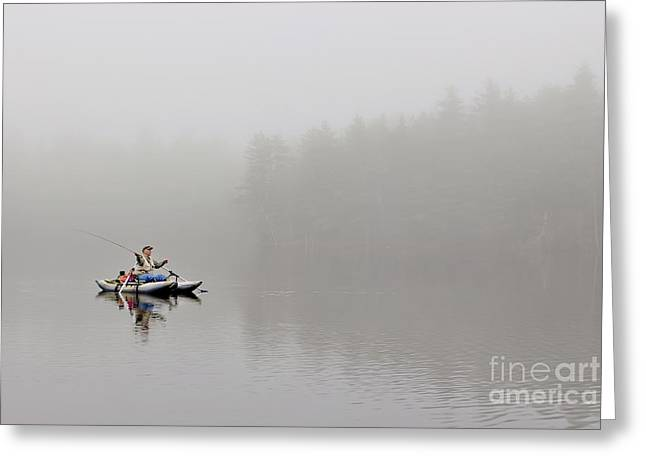 Fishing In The Fog Greeting Card by Karin Pinkham