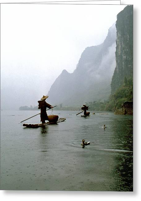Fishing In The Rain With Cormorants Greeting Card by King Wu