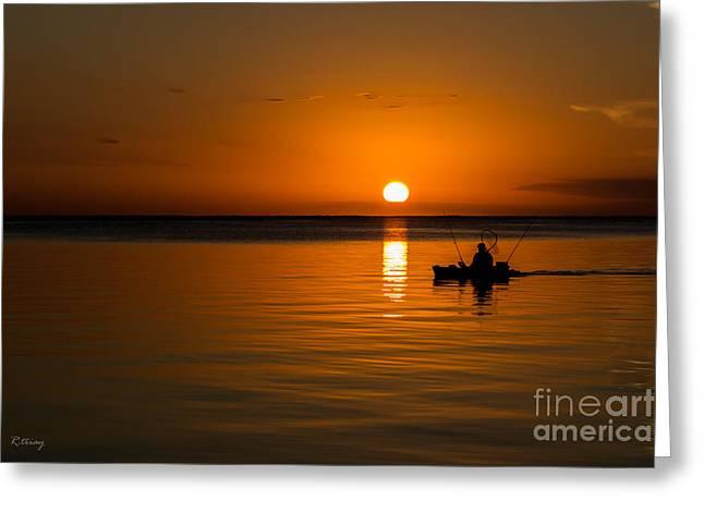 Fishing Into The Night Greeting Card