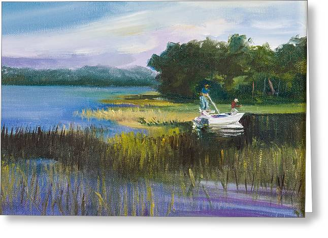 Fishing Greeting Card by Jane Woodward