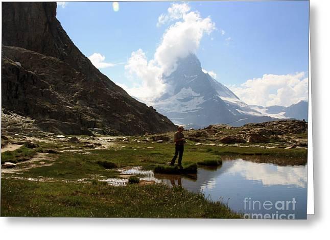 Fishing Lake Matterhorn Greeting Card by Juan Romagosa