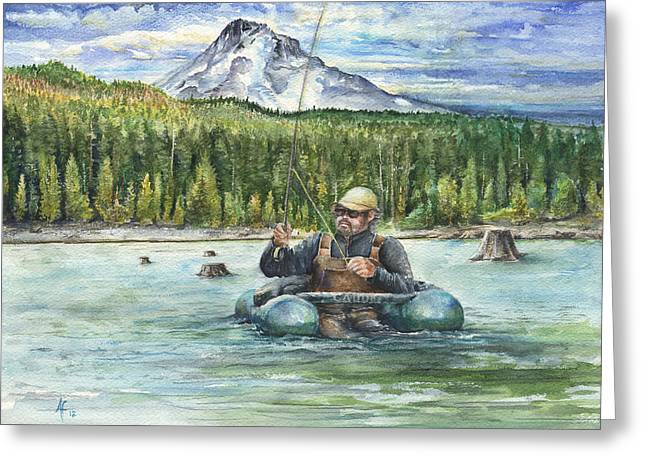 Fishing Laurance Greeting Card by Arthur Fix