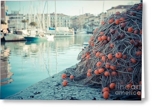 Fishing Net Greeting Card by Hannes Cmarits