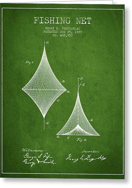 Fishing Net Patent From 1889- Green Greeting Card by Aged Pixel