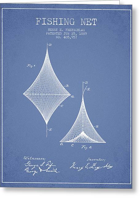 Fishing Net Patent From 1889- Light Blue Greeting Card by Aged Pixel