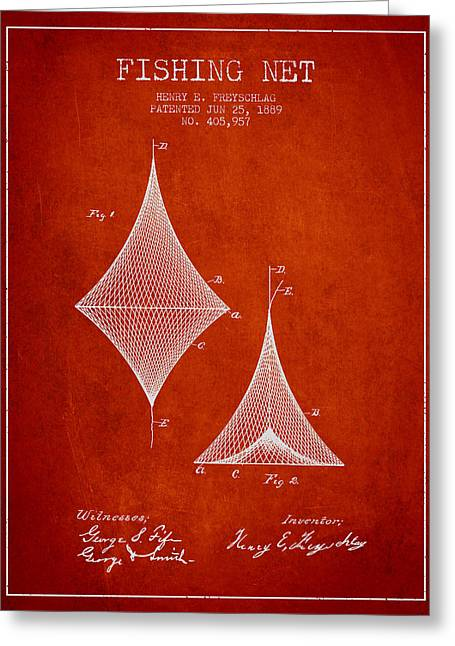 Fishing Net Patent From 1889- Red Greeting Card by Aged Pixel